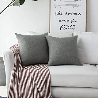 Home BRILLIANT2 Pack Textured Linen Throw Pillow Covers Burlap Cushion Covers for Couch Bench Sofa, 20x20 inch(50cm), Dark Grey