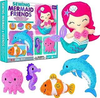 KRAFUN Mermaid Friends Beginner Sewing Kit for Kids plush craft kit, Includes 5 Stuffed Sea Animal Dolls, Instructions & F...