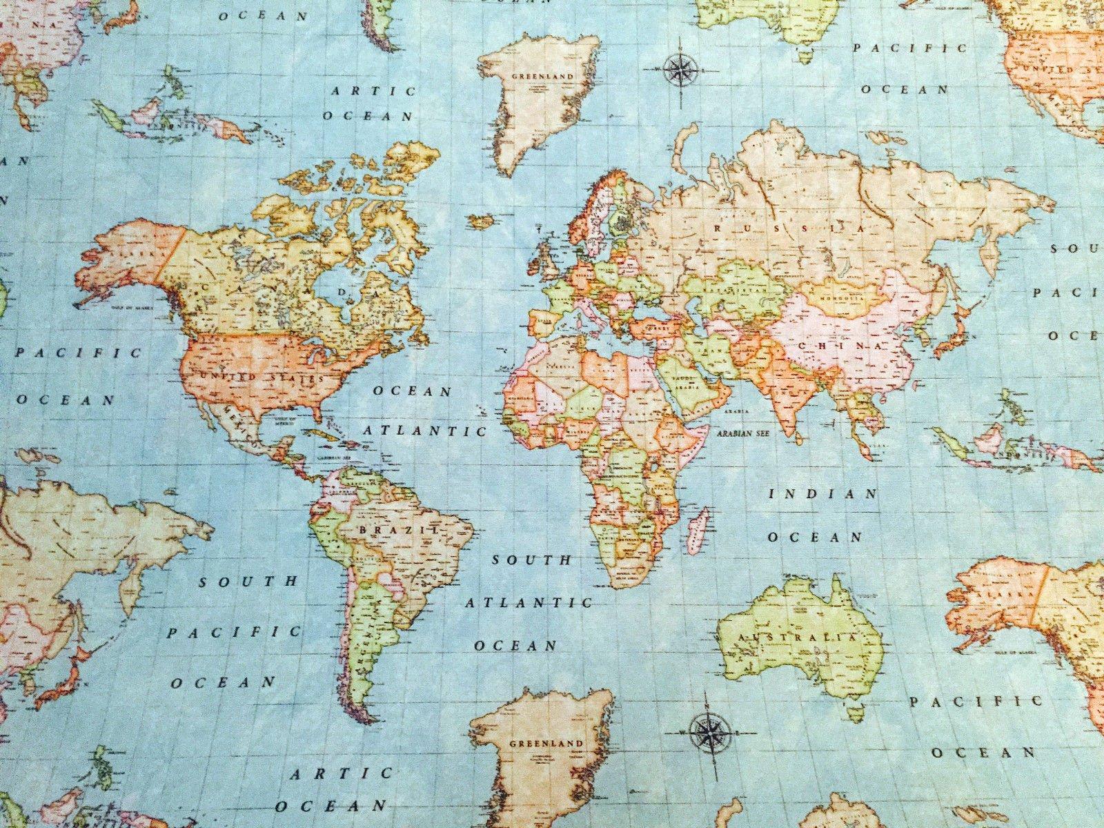 Amazon Com Homebuy World Map 3 Designer Curtain Upholstery Cotton