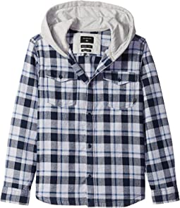 Snap Up Long Sleeve Hooded Shirt (Big Kids)