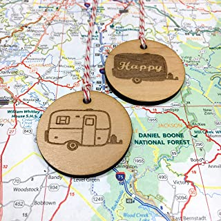 Egg Camper and Happy Camper set of two Christmas Ornaments
