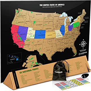 Landmass Scratch Off USA Map Poster - Scratch Off Map of The United States - 17 x 24 inches - US National Parks, State Capitals, Peaks and Highways