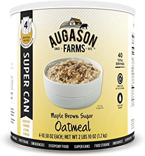 Augason Farms 5-10133 Maple Brown Sugar Oatmeal Super Can Food Storage, 10 Can with 4 Individual Pouches