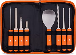 Professional Pumpkin Carving Kit – Heavy Duty Stainless Steel Tools with Carrying Case (8 piece set)