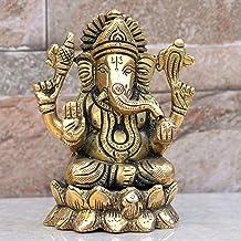 Ganesh Sitting Lotus - Ganesh, Ganpati, Brass Statue Indian Hand Crafted Religious Sculpture of Ganesha (4 INCH)