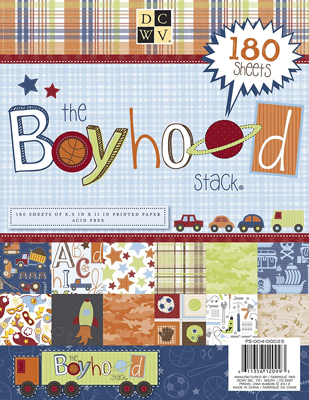 DCWV PS-004-00025 Cardstock Paper Boyhood Stack 8.5X11 180 Sheets Acid Free, Multicolor