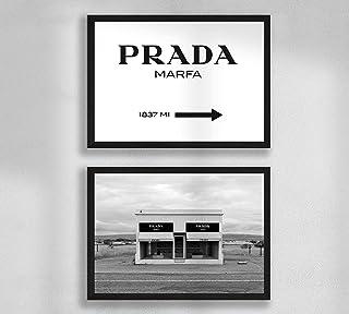Decorazione da parete - Set di poster premium da parete per soggiorno, formato A4, senza cornice, Prada Marfa