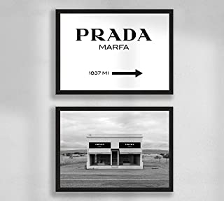Decoración de pared - Juego de póster de pared para sala de estar Premium, tamaño A4, sin marco, Prada Marfa