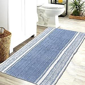 CHARDIN HOME Blue & White Bath Mat   Bathroom Runner Rug Plush & Soft Bath Rugs   Soft and Plush Cotton, Machine Washable