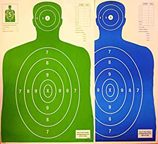 Son of A Gun Paper Shooting Targets, HIGH Shot Placement Visibility, Life Size B-27 Silhouettes, Bright Green and Blue Package, 100 Total Count, GET More Bang for Your Buck! Best Prices Anywhere!