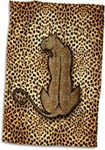 3D Rose Wild Cat in Stylized Form with Cheetah Print Hand Towel 15 x 22 Multicolor
