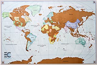 """Scratch off map of the world - premium edition - scratch off travel poster, easy to hang or frame 24""""x36"""" - great gift, accessories included"""
