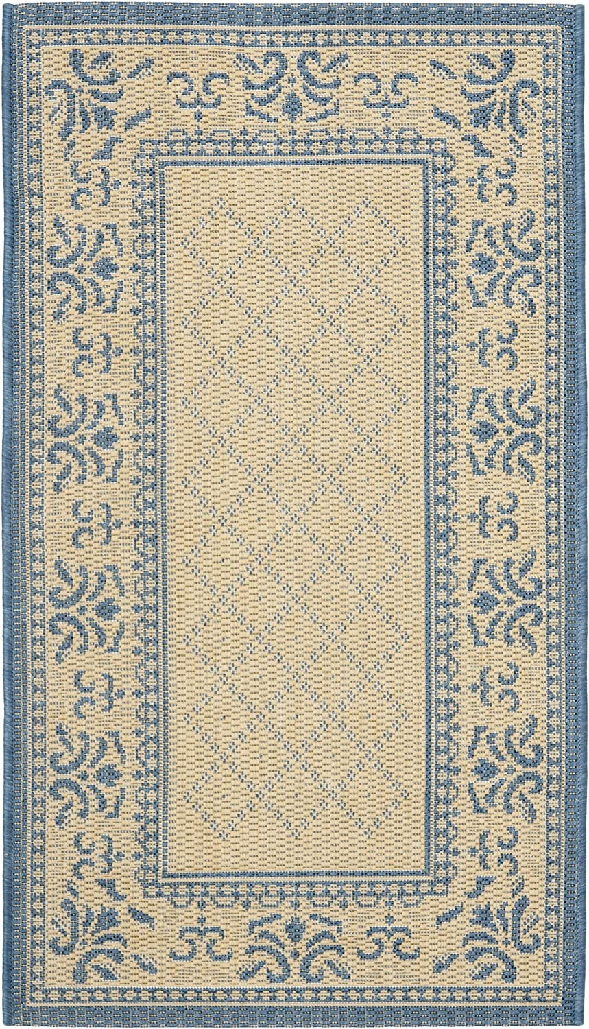 Safavieh Courtyard Collection CY0901-3101 Natural and bluee Indoor Outdoor Area Rug, 2 feet by 3 feet 7 inches (2' x 3'7 )