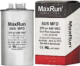 MAXRUN 50+5 MFD uf 370 or 440 Volt VAC Round Dual Run Capacitor for Air Conditioner or Heat Pump Condenser - 50/5 Microfarad Runs AC Motor and Fan - 5 Year Warranty