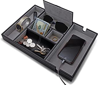 "HOUNDSBAY ""Victory Valet Tray for Men with Large Smartphone Charging Station (Grey)"