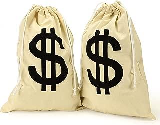 Canvas Dollar Sign Drawstring Bag (Size: 12