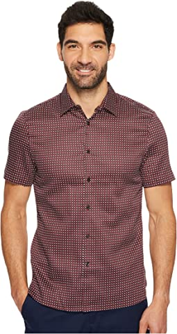 Perry Ellis - Short Sleeve Slim Fit Geometric Zag Button Down Shirt