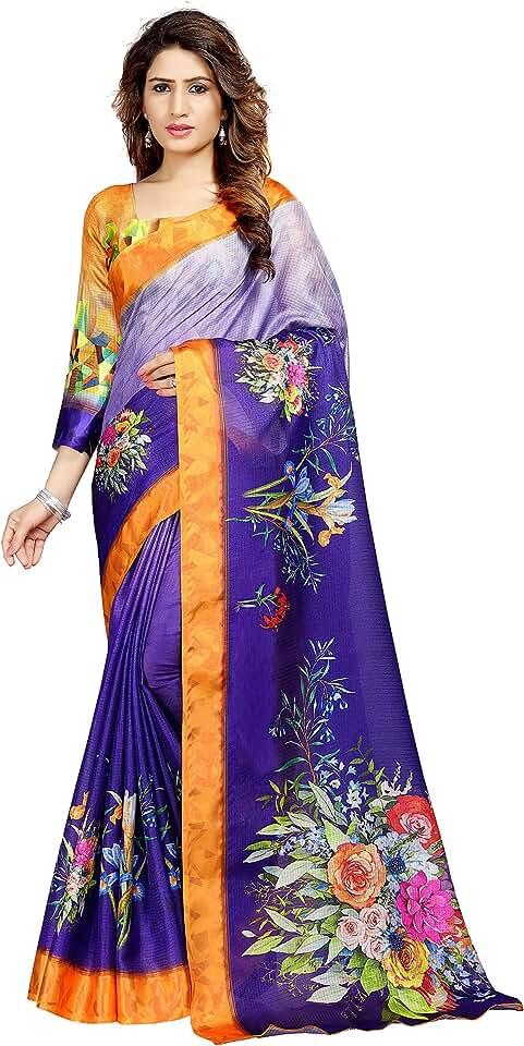 Indian Venisa Women's Tapadia Checks Digital Print Saree with Blouse Piece Saree