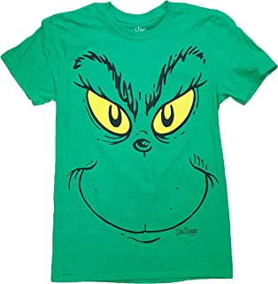 Dr Seuss How the Grinch Stole Christmas Grinch Face Green Graphic T-Shirt