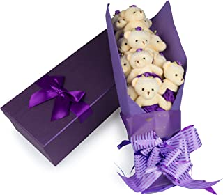 SCS Direct Deluxe Purple Love Bear Bouquet in Gift Box - One Dozen Long Stemmed Rose Stuffed Bears - Great for Gift or Present for Christmas, Birthday, Anniversary, Mother's or Grandparent Day
