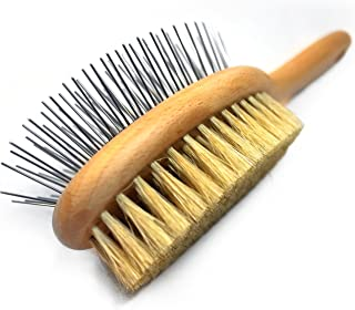 Paws Pamper Boar Bristle & Pin Brush for Dogs and Cats - Beechwood Handle