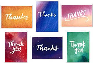 Hallmark Thank You Cards Assortment, Watercolor Thanks (48 Cards with Envelopes for Baby Showers, Wedding, Bridal Showers,...