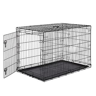 AmazonBasics Single Door Folding Metal Cage Crate For Dog or Puppy - 48 x 30 x 32.5 Inches