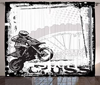 Ambesonne Motorcycle Curtains, Motocross Racer Image Grungy Background Poster Style Monochromic Artwork Print, Living Room Bedroom Window Drapes 2 Panel Set, 108