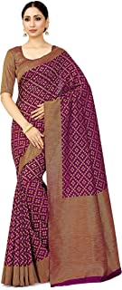 MIMOSA Women's Patola Art Silk Saree With Unstitched Blouse Piece (4568-2523-SD-WINE_Purple)