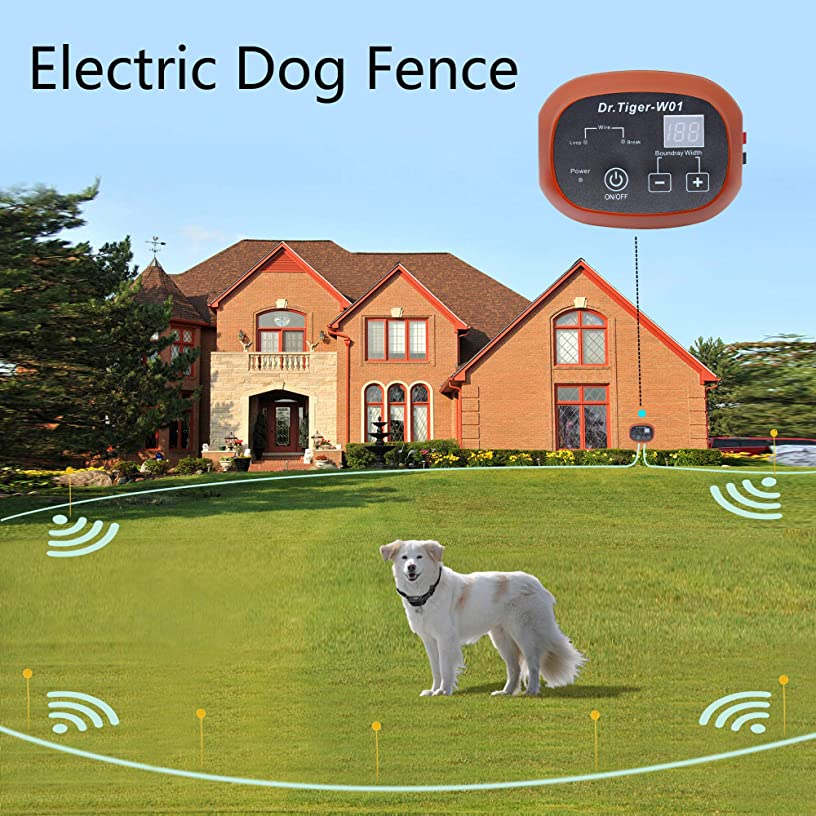 Dr.Tiger 1 Receiver Electric Dog Fence with Rechargeable Shock Collar, Wire In-Ground Dog or Cat Containment Fence System