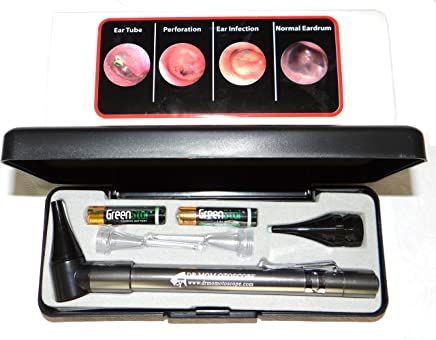 Lighted Ear Curettes Plus Hard CASE-Third Generation Dr Mom Slimline Stainless LED Pocket Otoscope Now Includes True View Full Spectrum LED and Pocket Clip
