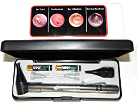 EAR GATOR LED Lighted Ear CURETTES plus HARD CASE-Third Generation Dr Mom Slimline Stainless LED Pocket Otoscope includes True View Full Spectrum LED and Pocket Clip