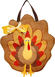 JOYIN Thanksgiving Turkey Burlap Door Decorations for Autumn Wall Decoration and Fall Party Favor Supply Décor.