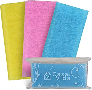 CasaVida Exfoliating Towel Nylon Washcloth Beauty Exfoliating Shower Towel 3 Pack (Classic, Blue Yellow Red)