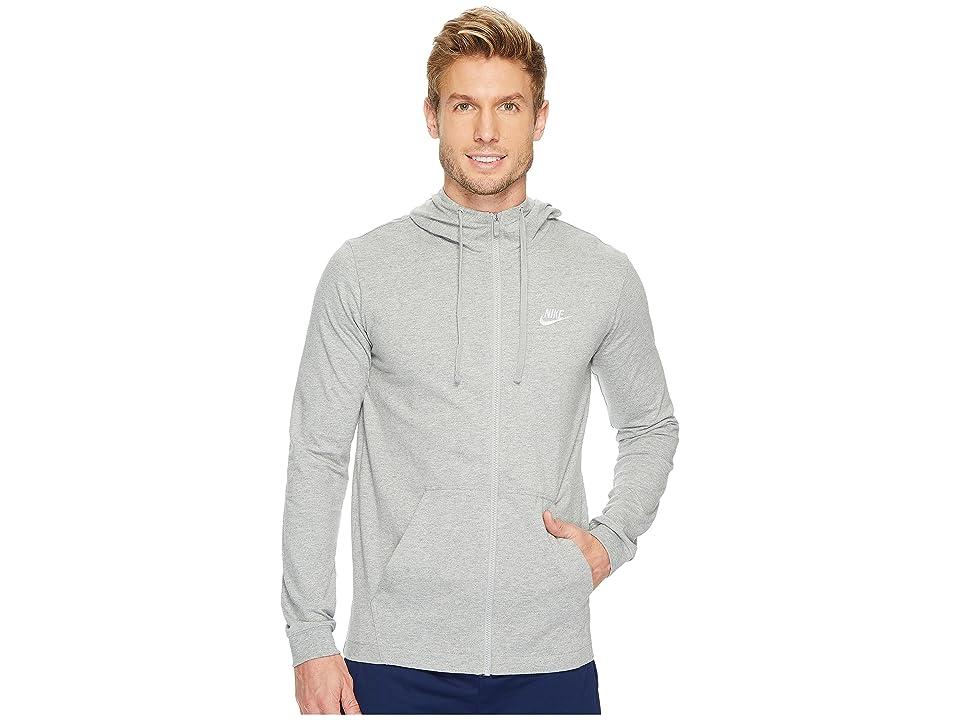 Nike Sportswear Full-Zip Hoodie (Dark Grey Heather/White) Men