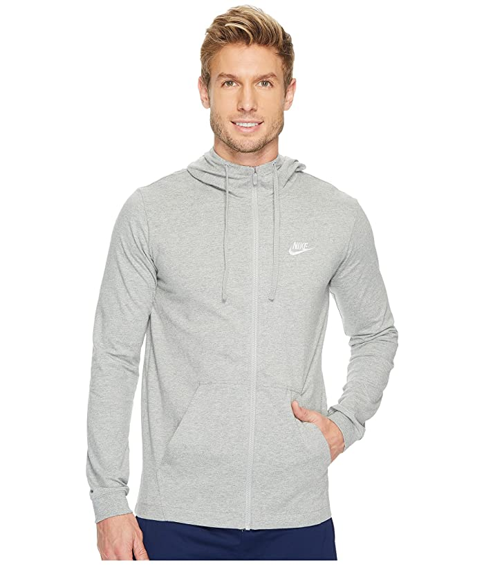 Nike Sportswear Full-Zip Hoodie (Dark Grey Heather/White) Men