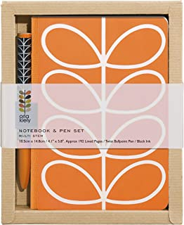 Orla Kiely | Pocket A5 Notebook and Pen Set | Linear Stem Design