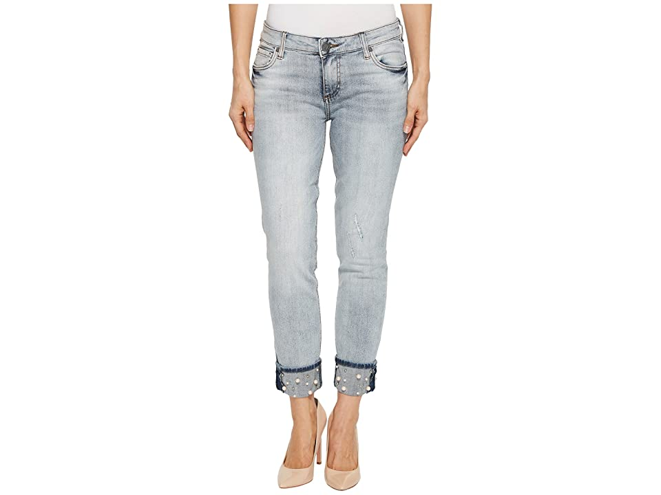 KUT from the Kloth Catherine Boyfriend w/ Pearl Cuff in Moderated (Moderated/Medium Base Wash) Women