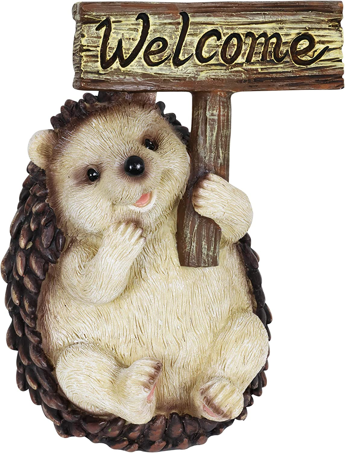 Exhart Hedgehog Holding a Recommended Welcome Sign Cute Garden Manufacturer regenerated product Art Statue