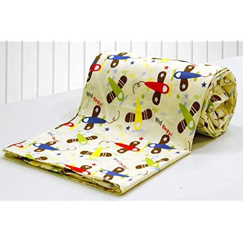 AURAVE Kids Funky Cream Cartoon Print 1 Piece Cotton Duvet Cover/Quilt Cover/Blanket Cover, Single Bed (with Zipper)