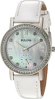 Bulova - mujer correa de piel color blanco reloj de cristal de 32 mm