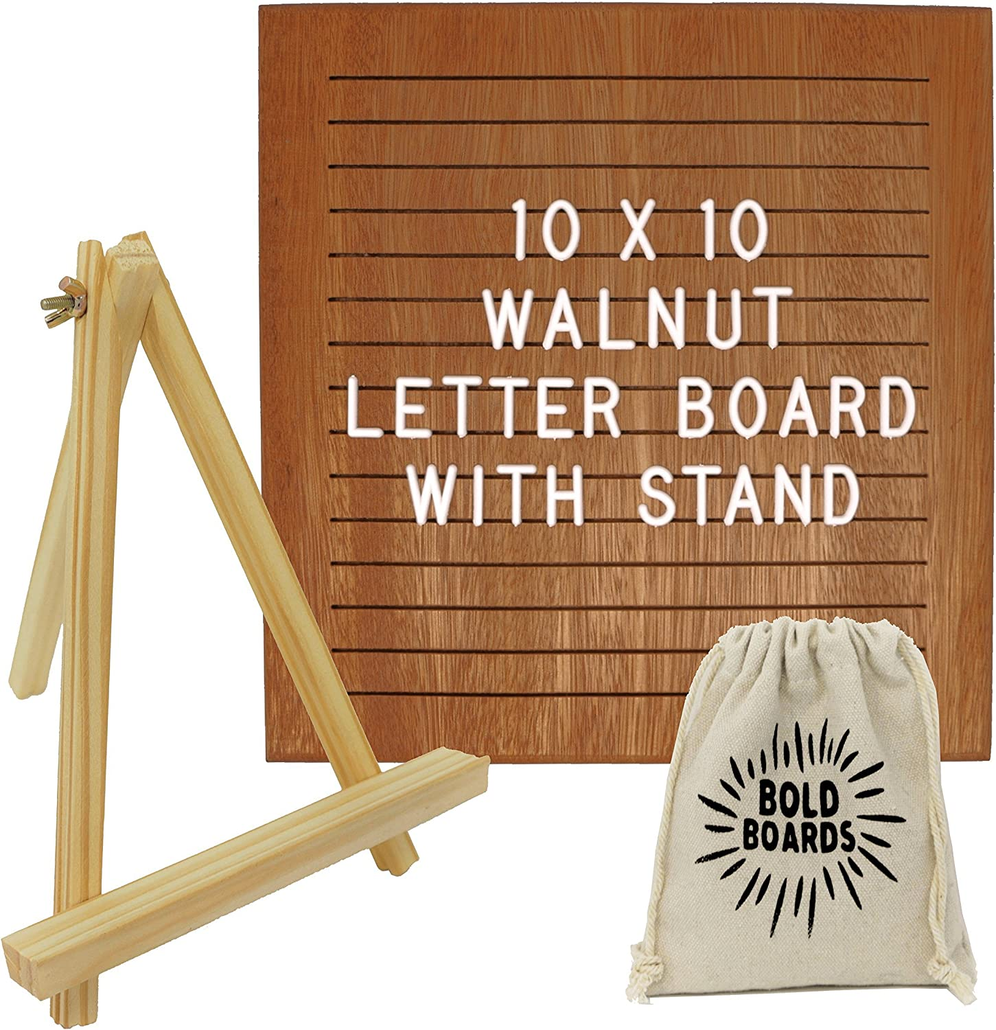 Walnut Chicago Mall Letter Board 10x10 gift Inches with C Wooden Stand Tripod 340