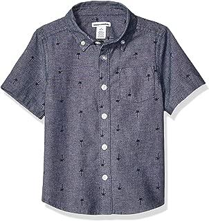 Amazon Essentials Boys' Short-Sleeve Poplin/Chambray Shirt