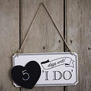 Ginger Ray Vintage Affair Wooden Wedding Countdown Chalkboard Sign, White