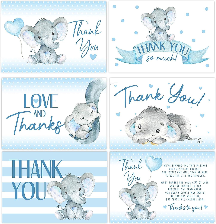 50 Elephant Baby Shower Thank You Cards, Boy Baby, Mama Baby Shower Favor and Games, 50 Thank You Cards and Envelopes