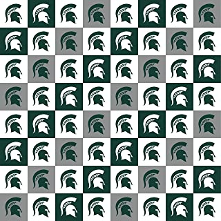 Michigan State Cotton Fabric with New Mini Check Design-Newest Pattern-NCAA Cotton Fabric