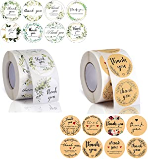 Avamie 1000 PCS Thank You Stickers Rolls, 1.5 inch Thank You for Supporting My Small Business Stickers, 16 Unique Designs,...