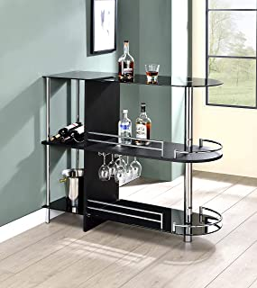 Kings Brand Furniture Bar Table with Two Tempered Glass...