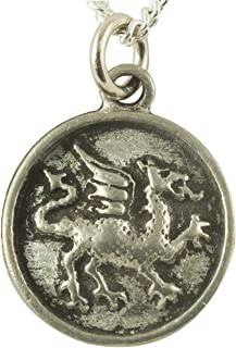 Earrings and Necklaces Welsh Dragon Heraldry Pendant - Pewter