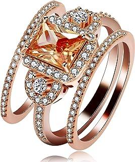 Uloveido 3pcs Rose Gold Plated Emerald Cut Orange AAA Cubic Zirconia 3-Stone Cross Engagement Wedding Rings Set,Gift Boxed (Size 6 7 8 9 10) Y434